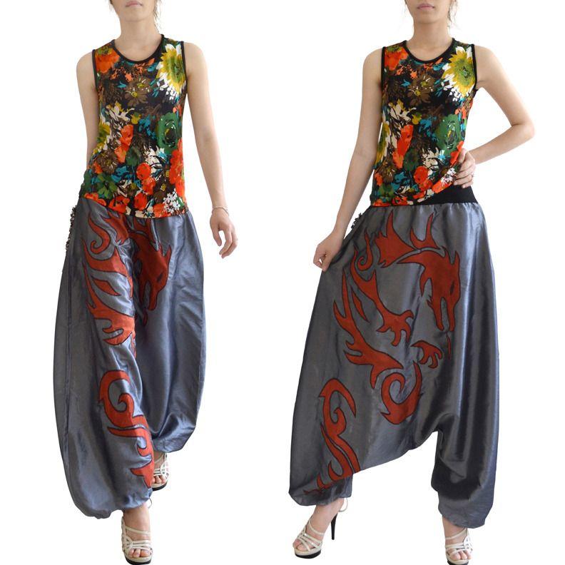 Pantalon Sarouel Pour Femme Taffetas Aux Broderies Fantaisie