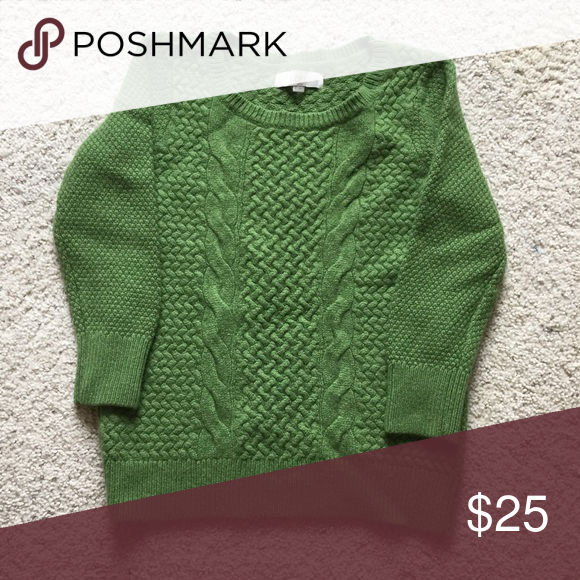 Lovely Loft Green Sweater I'm bummed to have to re-posh this because it's so cute. It's marked a size small, but it's too small for me. I think it fits like an extra small. Great quality and condition. 3/4 sleeve. Rayon/wool/nylon/cotton/rabbit hair blend. Beautiful green color. LOFT Sweaters Crew & Scoop Necks