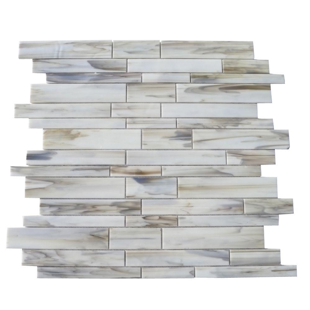 Ivy Hill Tile Matchstix Halo 12 in  x 12 in  x 3 mm Glass