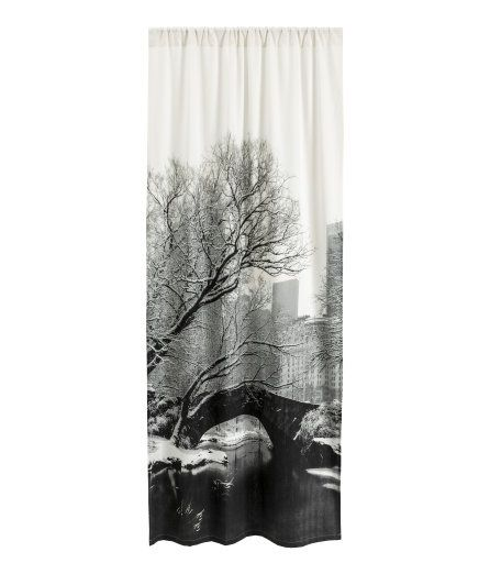 Check this out! One curtain panel in woven cotton fabric with a photographic printed design and wide cased heading. Hemming tape included. - Visit hm.com to see more.