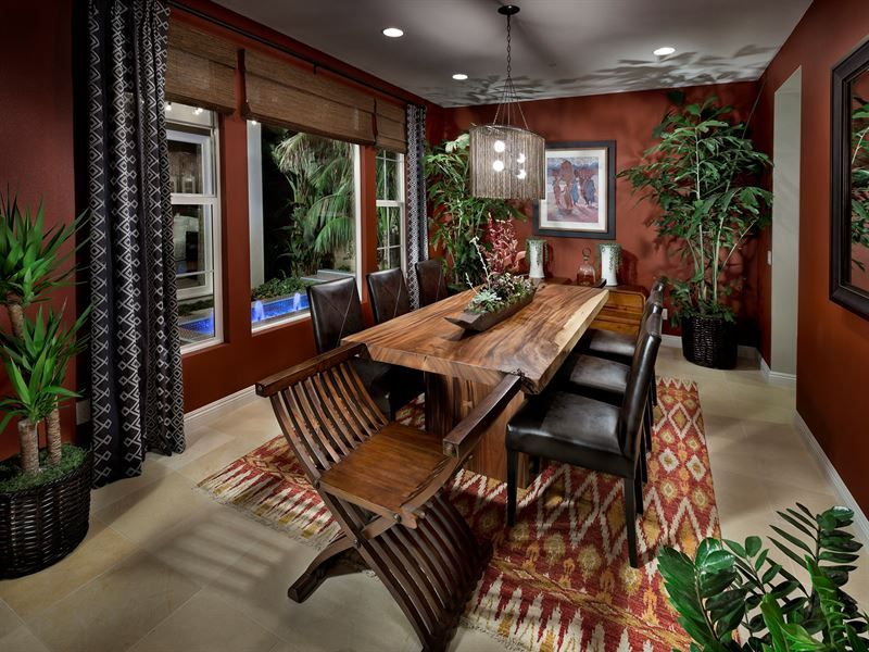 African inspired dining room w view of fountain