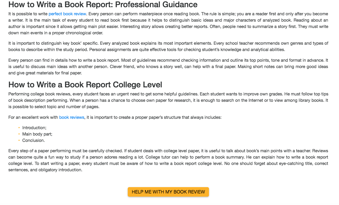 Creating An Effective College-Level Book Report