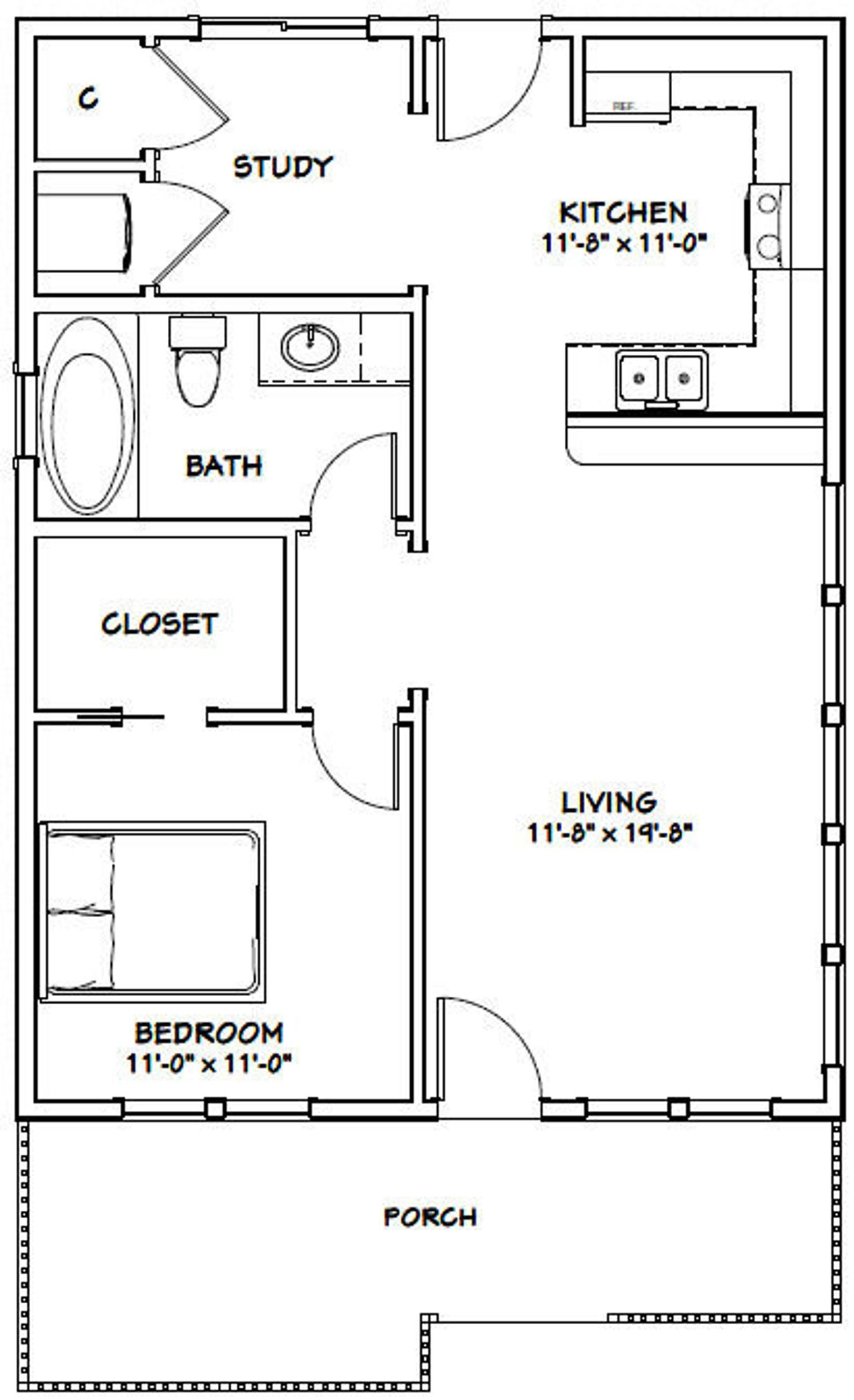 24x32 House 1 Bedroom 1 Bath 768 Sq Ft Pdf Floor Plan Etsy In 2020 One Bedroom House House Plans Tiny House Floor Plans