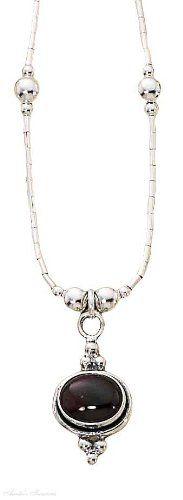 Sterling Silver Choker Necklace Sideways Garnet Beads - http://fashion.designerjewelrygalleria.com/special-offers/sterling-silver-choker-necklace-sideways-garnet-beads/