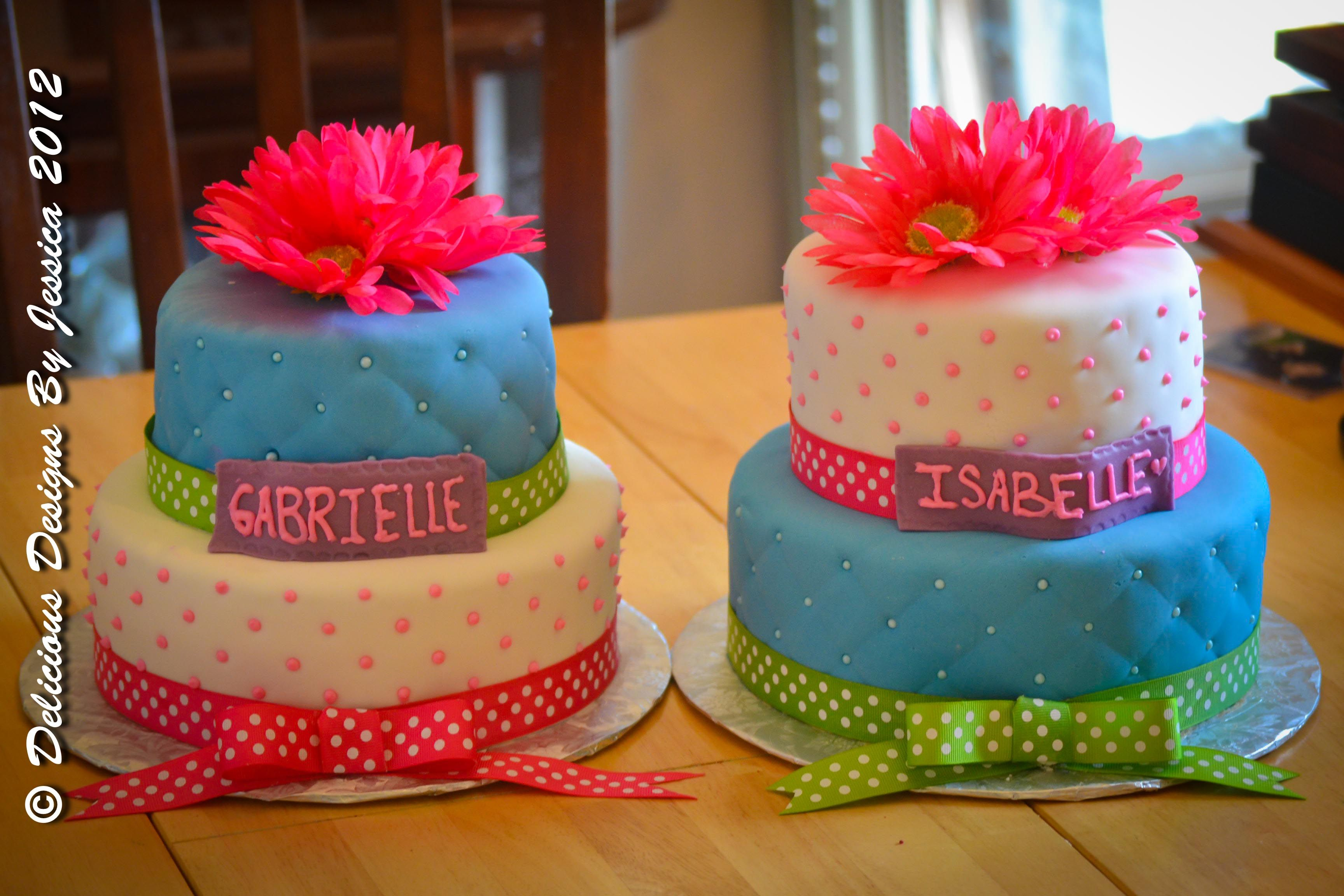 Admirable Twin Girl Birthday Cakes Birthday Cake Girls Twin Birthday Personalised Birthday Cards Veneteletsinfo