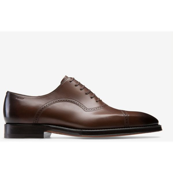 Scanio Brown, Mens leather Oxford lace-up shoe in mid brown Bally