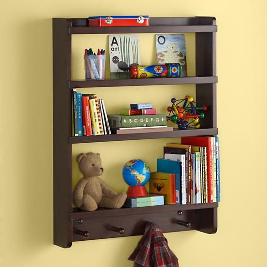 Hanging Wall Bookshelves the land of nod | kids wall rack: espresso hanging wall book shelf