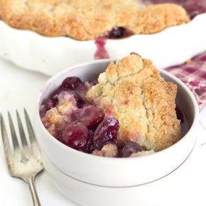 Fresh Cherry Sugar Cookie Cobbler - Fresh cherry filled cobbler with a sugar…