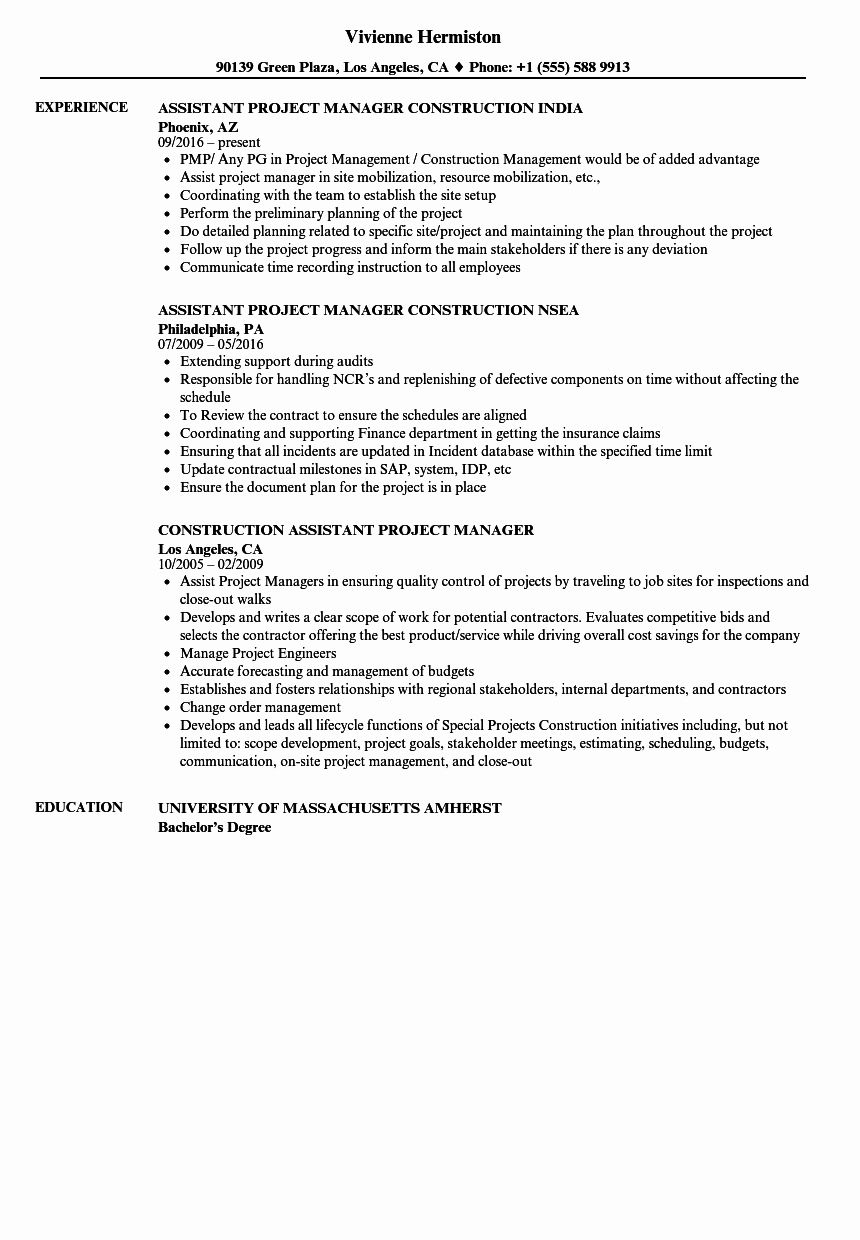 Assistant project manager resume beautiful construction