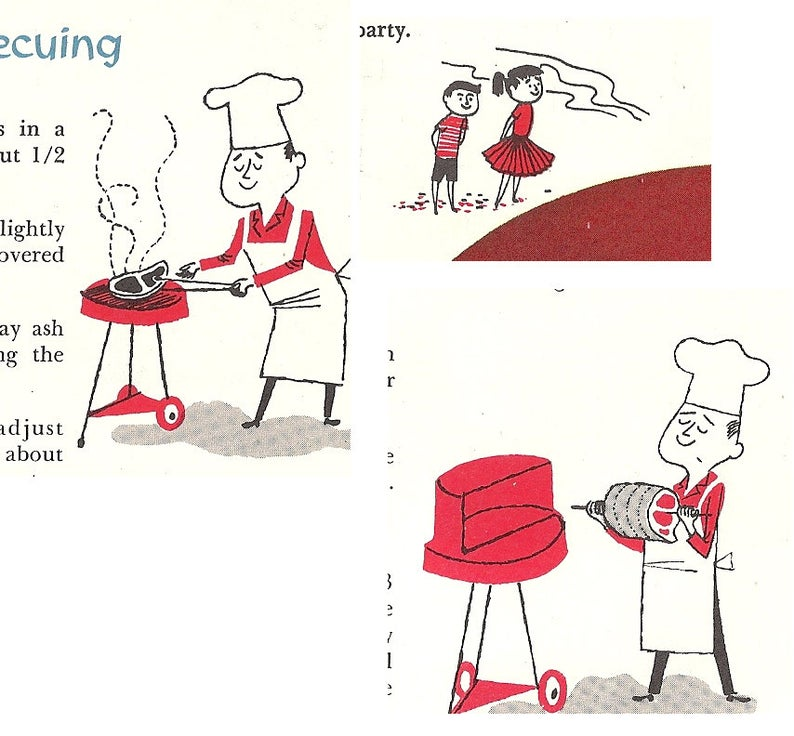"""Photo of Vintage Montgomery Ward """"How To Cook Outdoors"""" BBQ Barbecue Booklet – 1950s 1957 Mid Century Modern Illustrations Ephemera Retro Cookbook"""