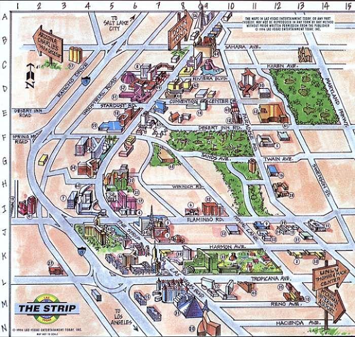 Vegas+Strip+Hotel+Map | Hard Rock Hotel & Casino   21   K 13 | Las