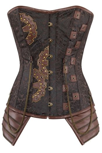 Steampunk Brocade Corset Cog and Chain Details CD-3050