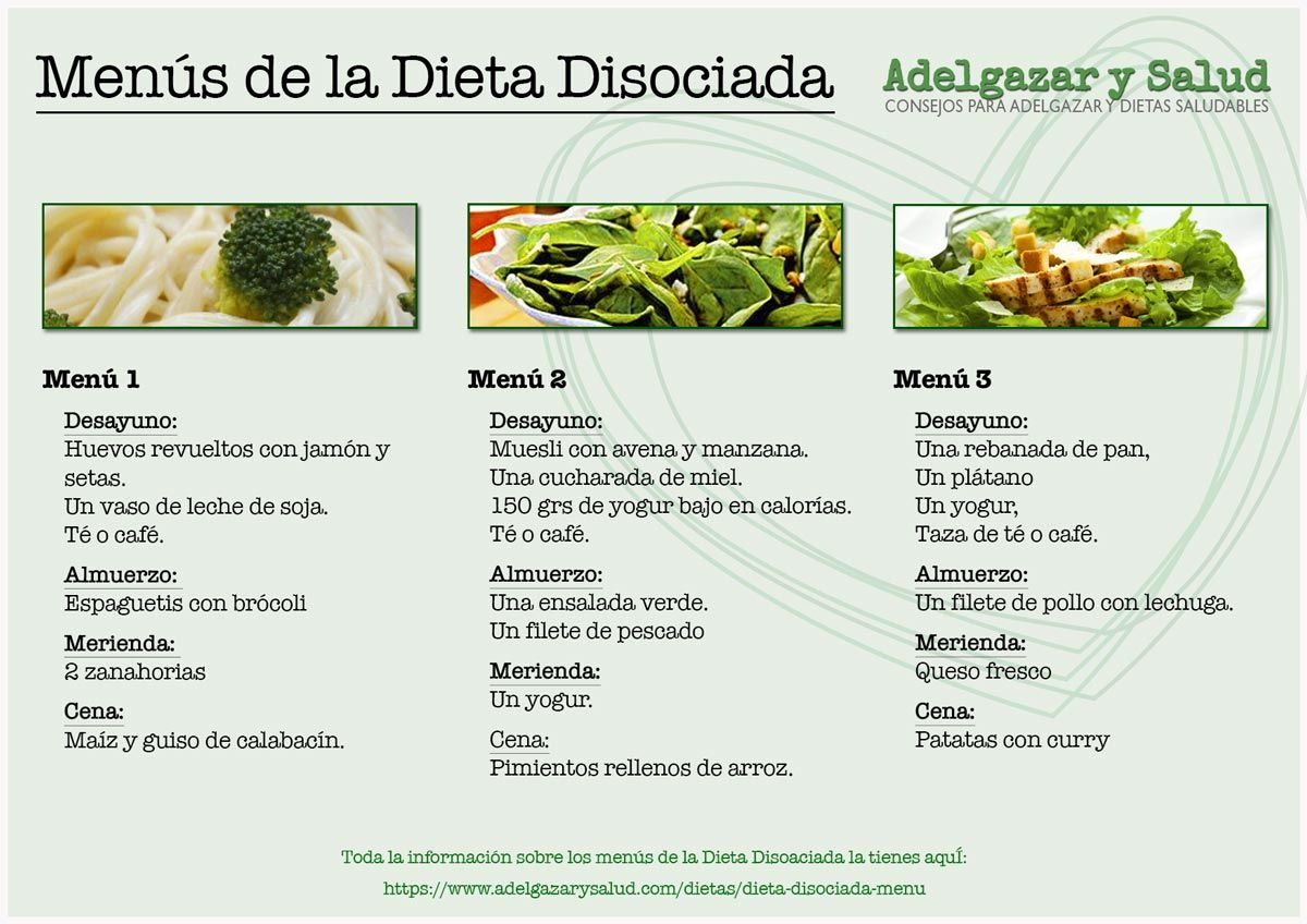 Maiz dieta disociada menu
