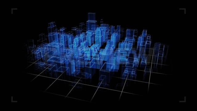 The City Hologram stock motion graphic background features city - copy blueprint start animation