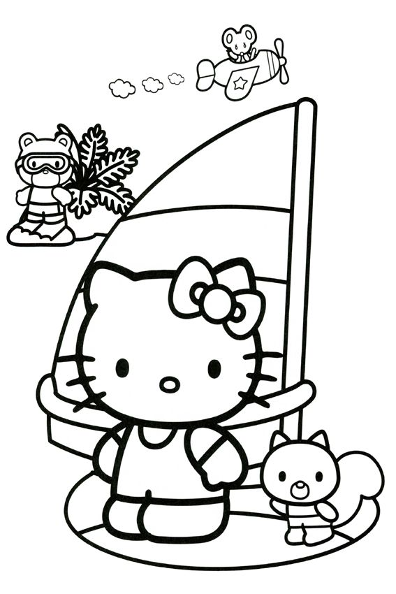 pin by on pinterest hello kitty kitty and hello Hello Kitty Men hello kitty coloring sailboat free coloring pages free printable goldfish sailing