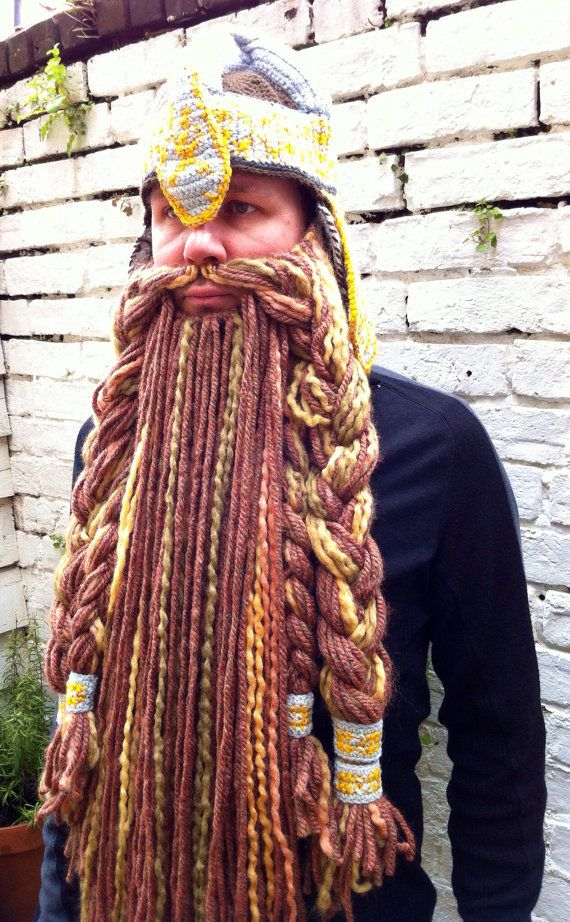 Crochet lord of the rings Gimli helmet and detachable beard.  Gabi Young  you should try crocheting this beard hat!!! That would take you all year! a801bf7b410