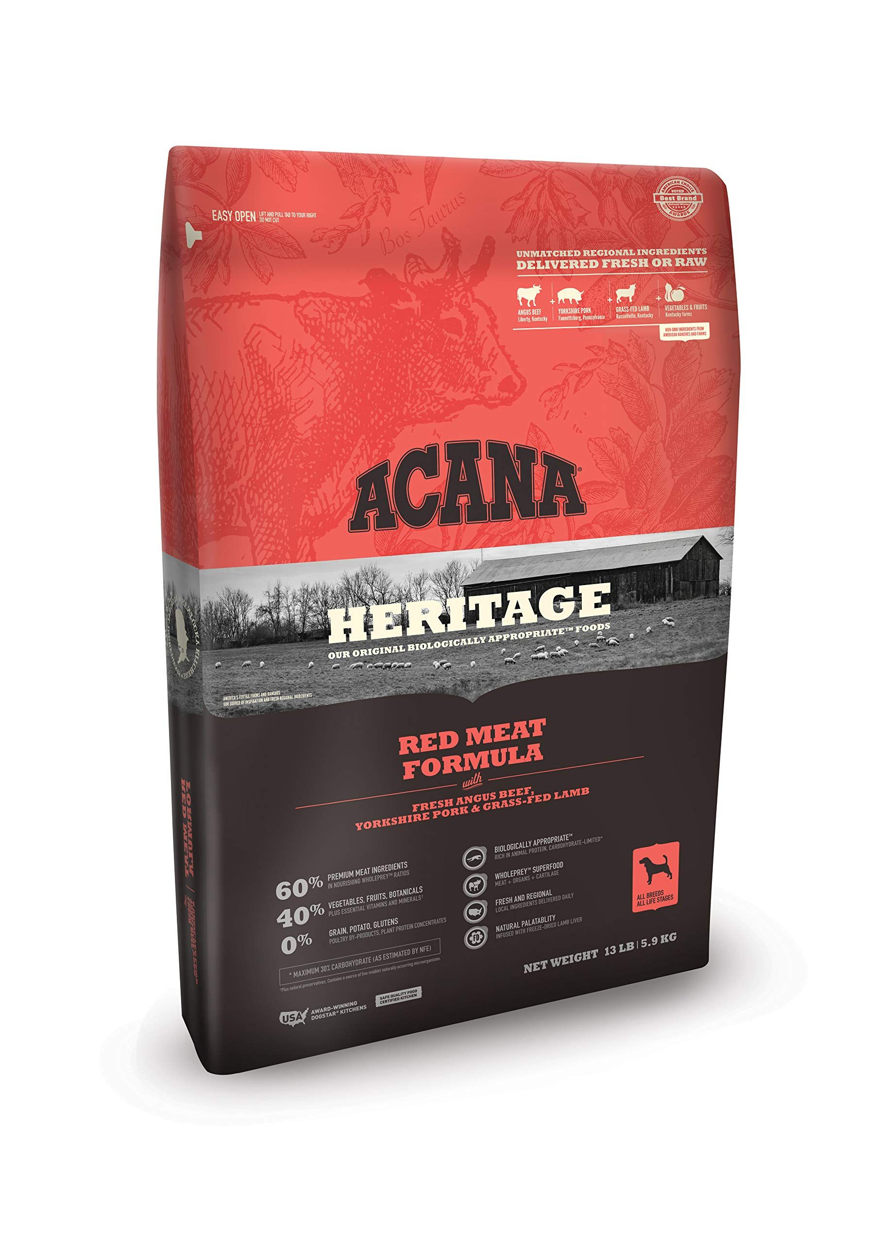 ACANA Heritage Dry Dog Food, Red Meat, Biologically