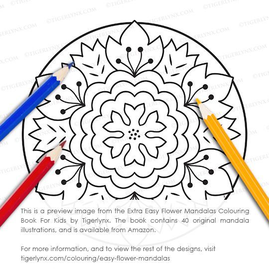 This Simple Mandala Colouring Page Is From The Extra Easy Flower Mandalas Book For Kids