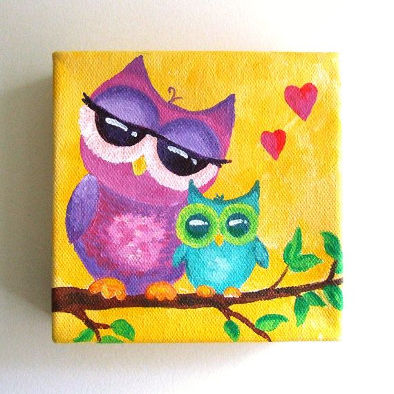 Owl Nursery Art, MAMA LOVE OWLS, 5x5 Canvas Painting, Small Wall Art ...