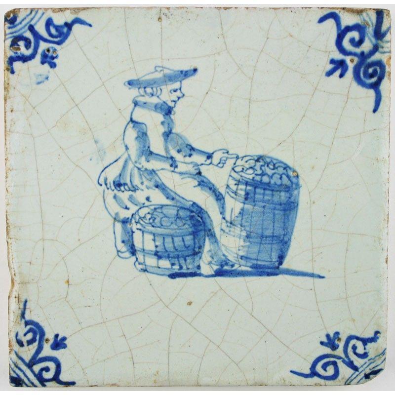 A market vendor on this Dutch Delft tile