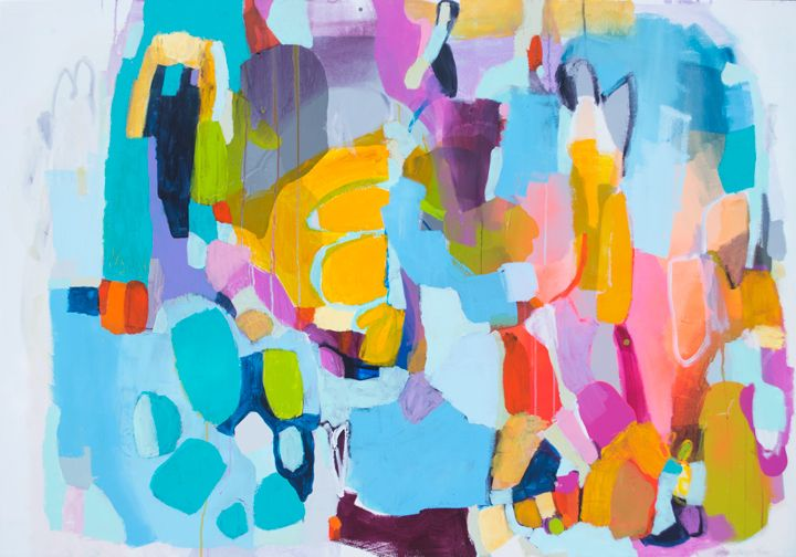 Whisper in My Ear - colourful abstract painting by Claire Desjardins.