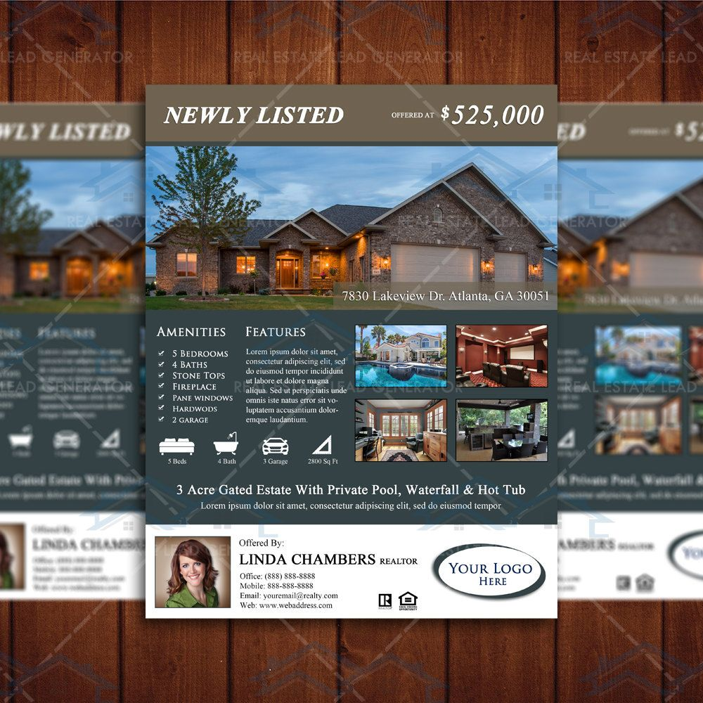 newly listed real estate flyer template property listing brochure