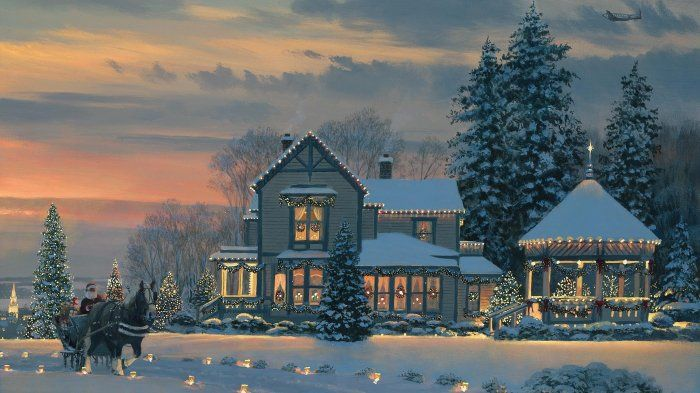 Desktop Wallpaper Painting Evening Farmhouse New Year Snow Hd Beautiful Background Image For Wi Christmas Wallpaper Christmas Facebook Cover Christmas Art Merry christmas snow background hd