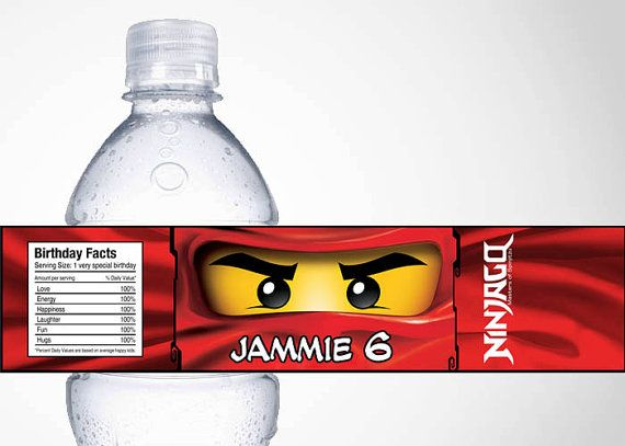 Lego Ninjago Water Bottle Label by cutiesparties.com $3.50