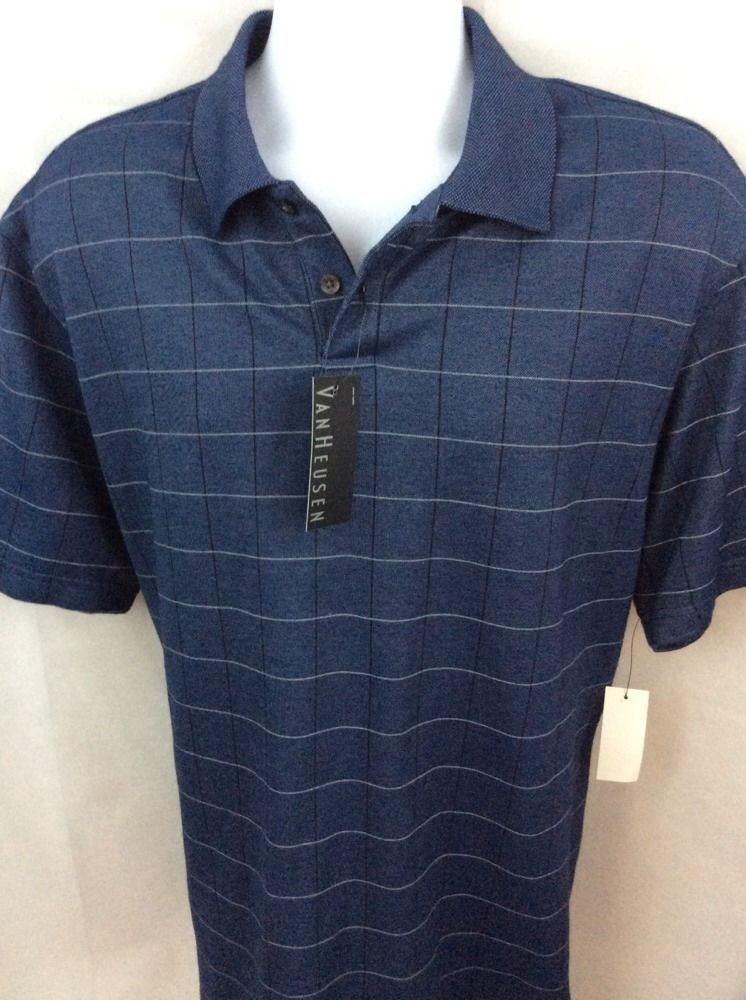 7481be5b9 Van Heusen Mens Polo Shirt Blue Plaid L Large Black Short Sleeve New NWT  H171 #VanHeusen #PoloRugby