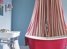 eye popping blue and red bathroom with striped shower curtain and chequerboard floor - Red Bathroom 2015