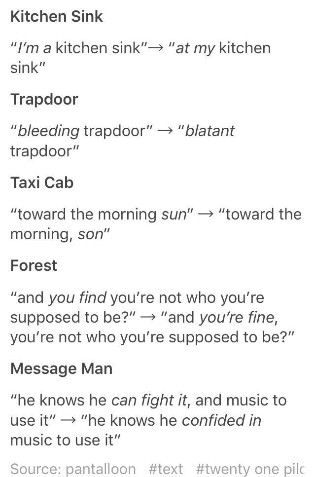 Commonly misheard lyrics  Honestly these can change the