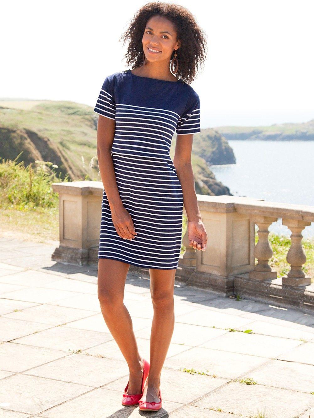 fc7484388a Navy Breton Stripe Nursing Dress