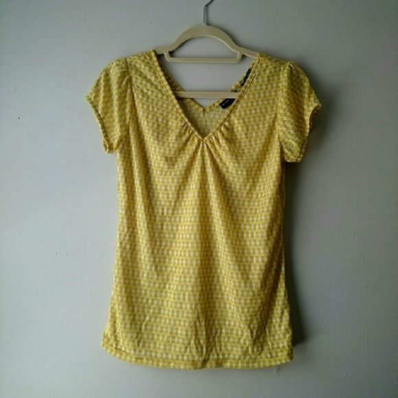 NY&C Mustard Tee Cute medium top from New York and Company. The color is light mustard and white (color my very per phone screen). Never worn!  ☆ Summerruby86 ☆  Similar styles to: forever 21, urban outfitters, h&m, loft,  free people, old navy, American Eagle, American apparel, gap, levi, charlotte russe, seven, lucky New York & Company Tops Tees - Short Sleeve