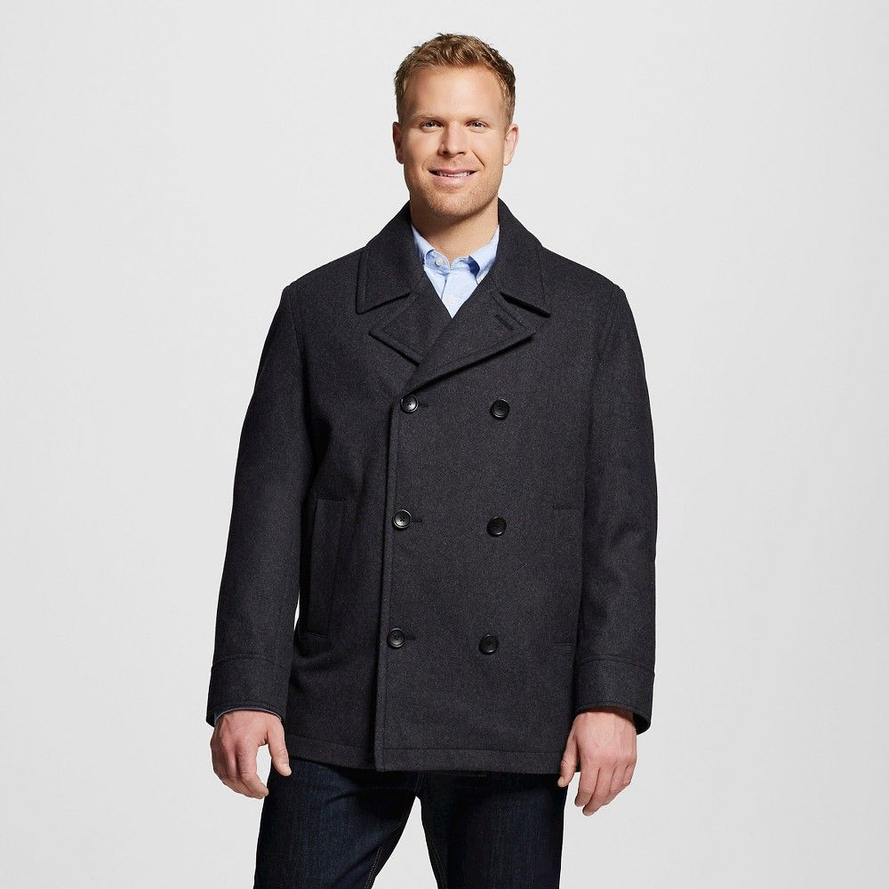 Men's Big & Tall Wool Pea Coat Heather Gray Xxl Tall - Merona ...