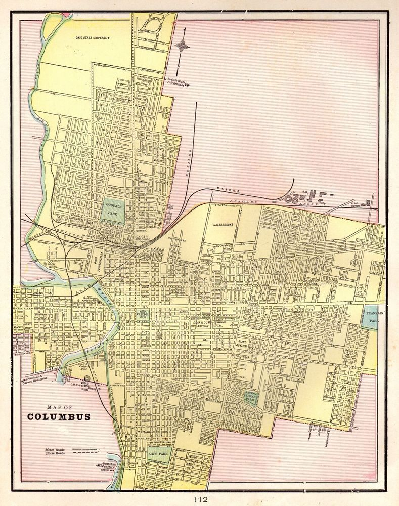 1901 Antique COLUMBUS OHIO Map Vintage Collectible Map of Columbus ...