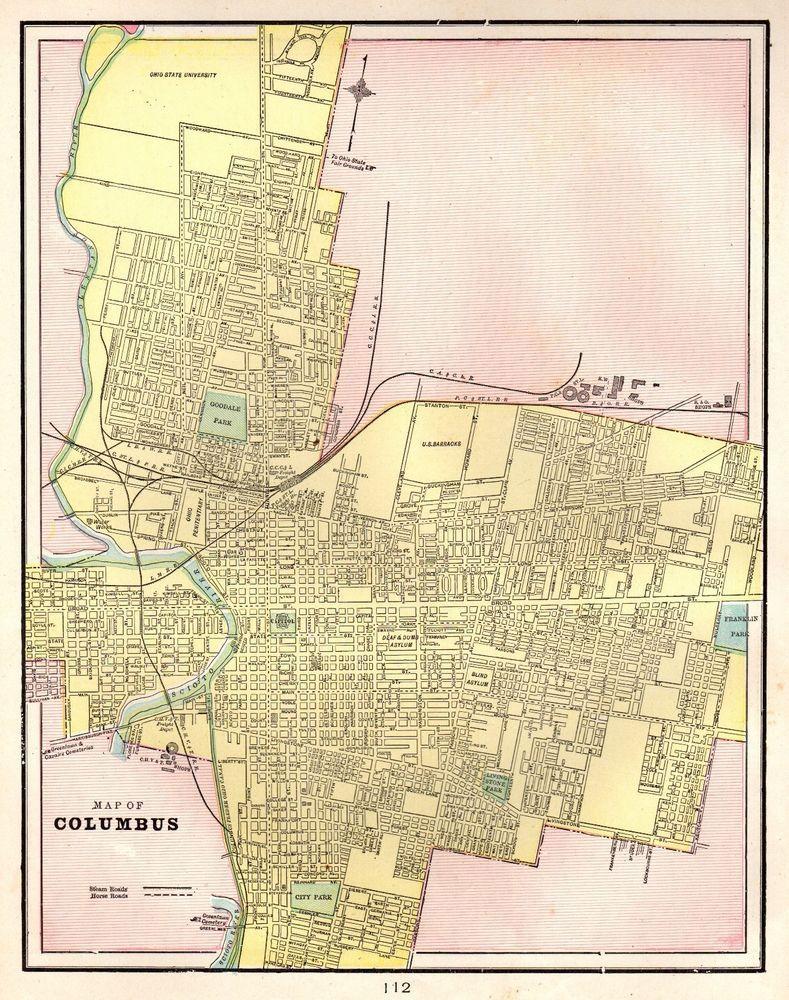 1901 Antique COLUMBUS OHIO Map Vintage Collectible Map of Columbus ...