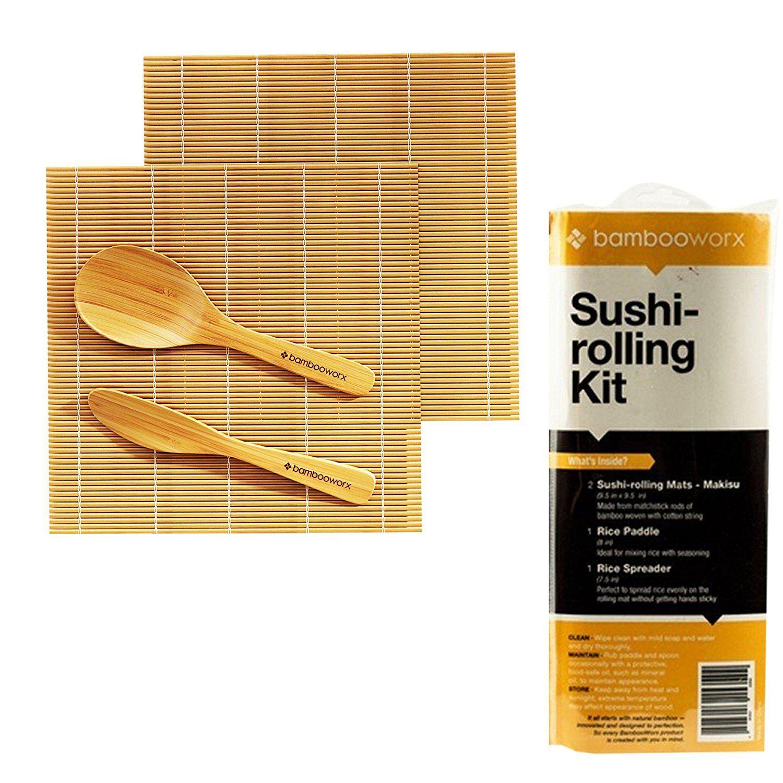 Bambooworx Sushi Making Kit Includes 2 Sushi Rolling Mats Rice Paddle Rice Spreader Sushi Tools Bamboo Japanese Sushi Rolling Mat Bamboo Sushi Sushi