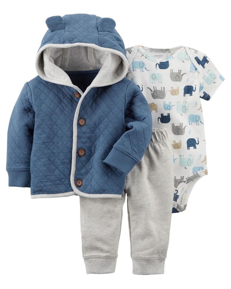 Carter's Infant Boys 3Piece elephant Cardigan Set NWT