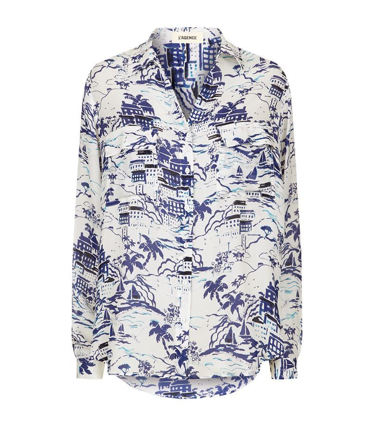 Cheap Sale Big Discount Lagence Woman Margaret Printed Silk Blouse Bright Blue Size S L'agence Low Shipping Online Popular Cheap Online 4Y7PzEjM0