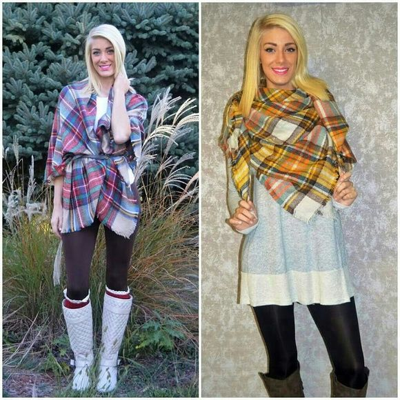 """Bundle Blanket Scarf Plaid blanket scarves are all the rage this year! They can literally be used as a blanket or a scarf/wrap. Pair with your favorite boots and you have the perfect fall outfit!  Length 58"""", Width 58""""  100% Acrylic Blend Accessories Scarves & Wraps"""