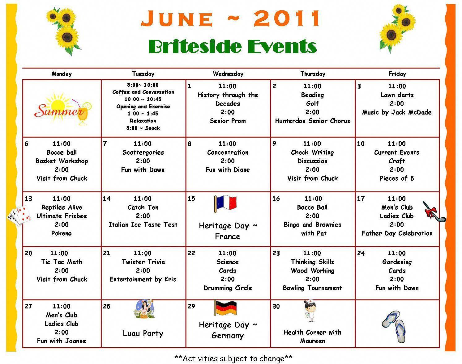Activity Calendar Britesideadultdaycenter