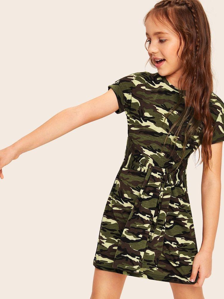Vestido Estilo Camiseta De Ninas De Tirante De Cintura Con Cordon