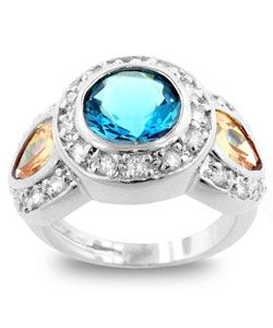 Kate Bissett Silvertone  Designer-inspired Blue CZ Cocktail Ring