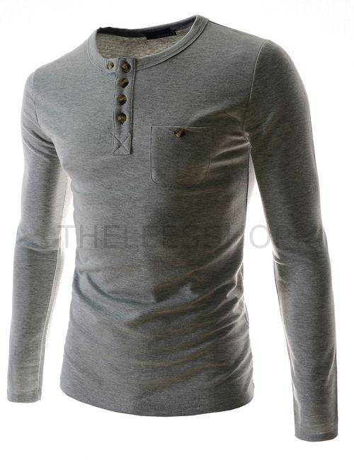 (DK52-GRAY) Mens Slim Stretchy Henley Neck Chest Pocket Long Sleeve Cotton Tshirts