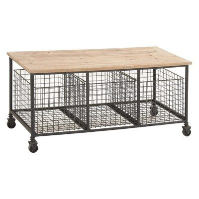 Stupendous Metal And Wood Rolling Storage Bench Brown Olivia May Machost Co Dining Chair Design Ideas Machostcouk