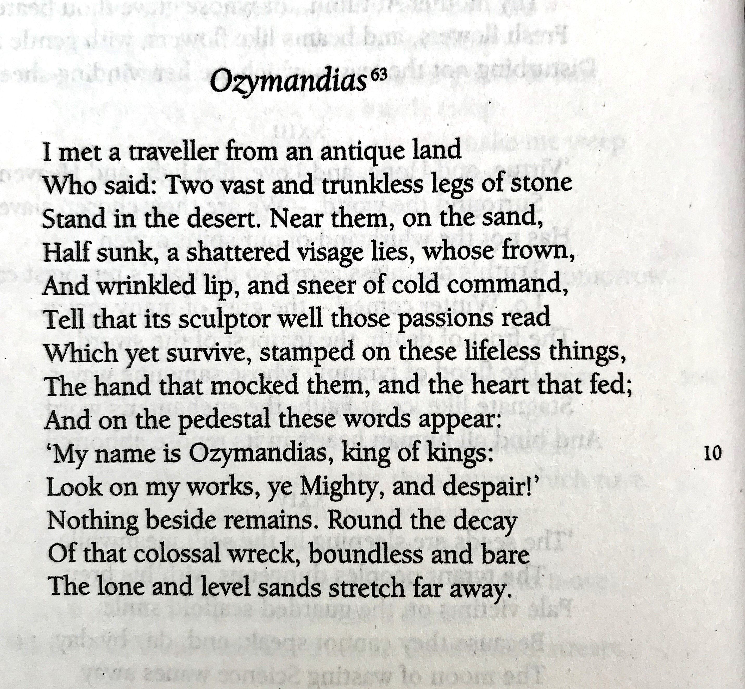 Percy Bysshe Shelley Ozymandia Reference The Selected Poetry And Prose Of Wordsworth Lybrary Classic Poem Romantic Poet Summary By