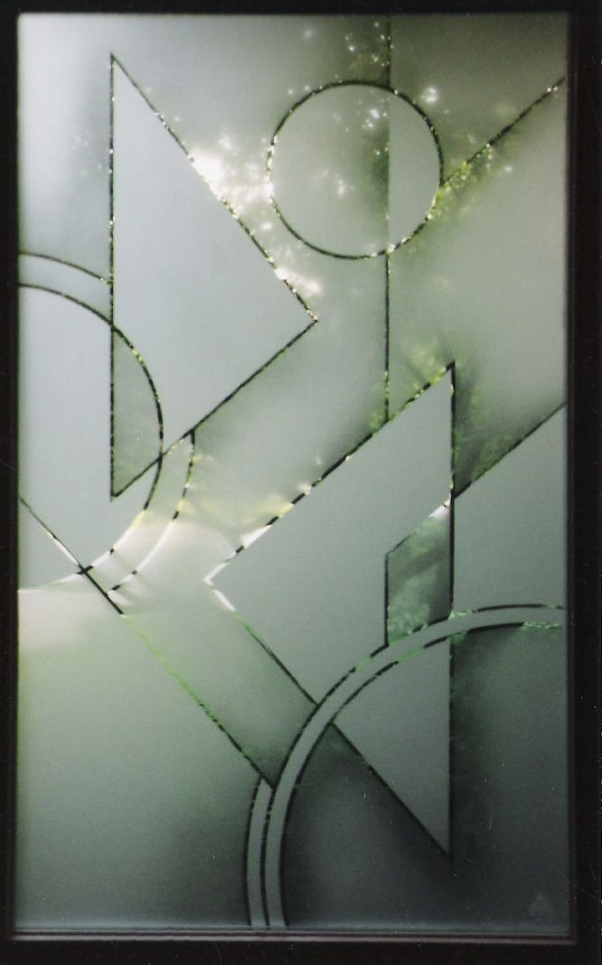 Designer Glass Abstract Geometric Design On The Front Door Glass