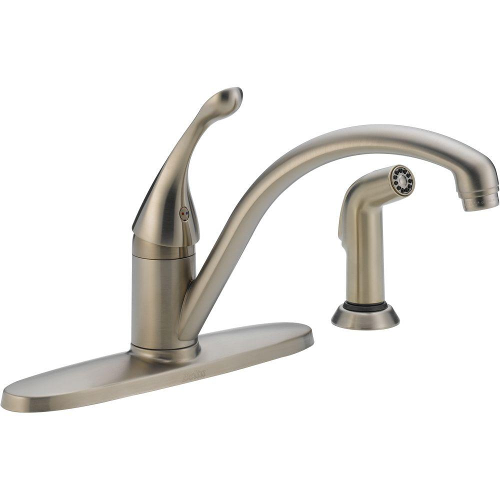 Delta Collins Single Handle Standard Kitchen Faucet With Side Sprayer In Stainless 440 Sswe Dst The Home Depot Kitchen Faucet With Sprayer Delta Kitchen Faucet Stainless Steel Kitchen Faucet Delta brushed nickel kitchen faucet