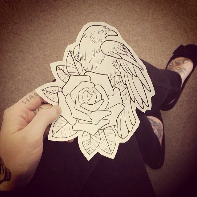 Cover Up Rose Outline: Crow And Rose Template (With Images)