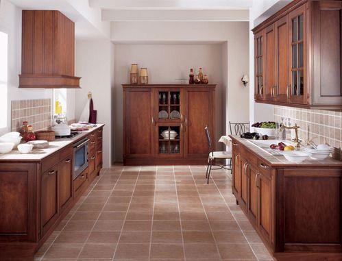 Cuisine rustique en bois avec sol carrelage moka id es pour la maison pin - Idee deco carrelage mural cuisine ...